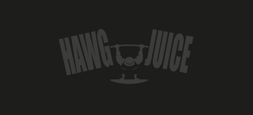 "Silhouette image of a Strong Man lifting the oversized words ""Hawg Juice""."