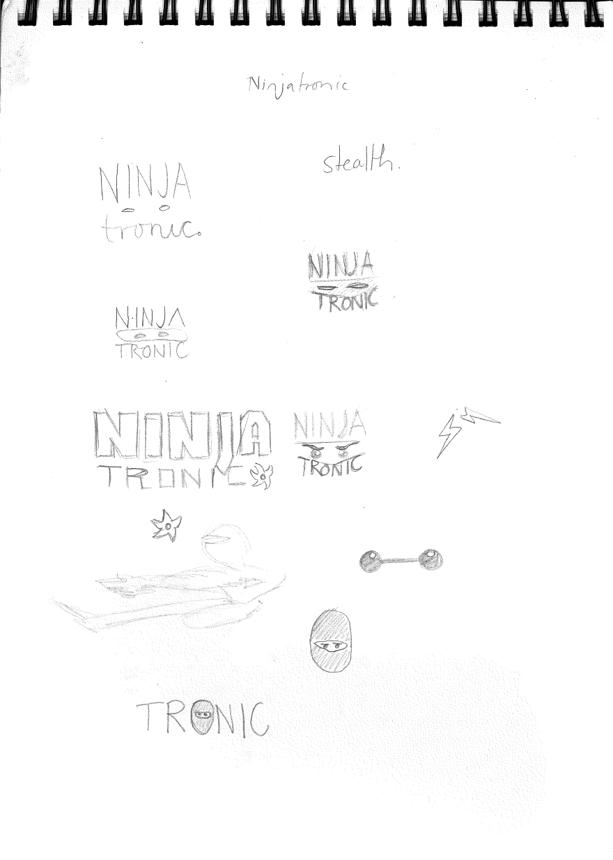 Various ideas for the ninjatronic logo sketched out